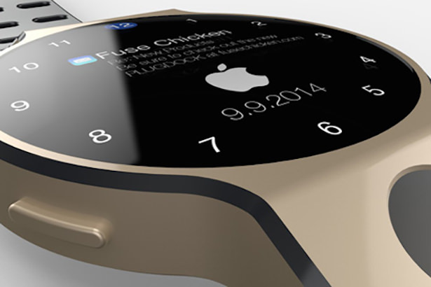 Реалистичный концепт iWatch с круглым дисплеем и Touch ID
