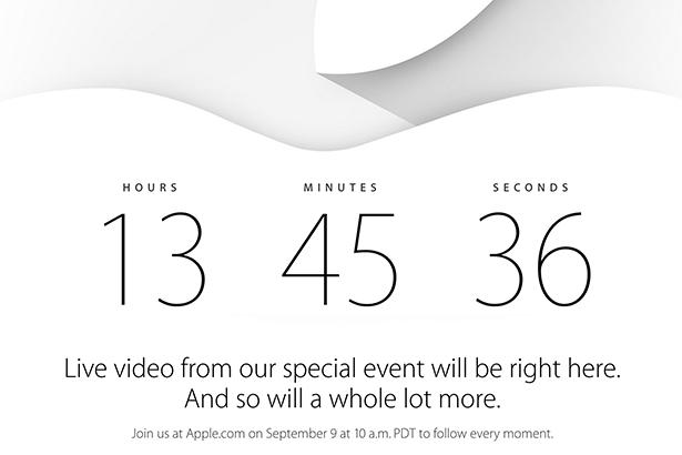 На главной странице сайта Apple начался обратный отсчет до начала презентации iPhone 6