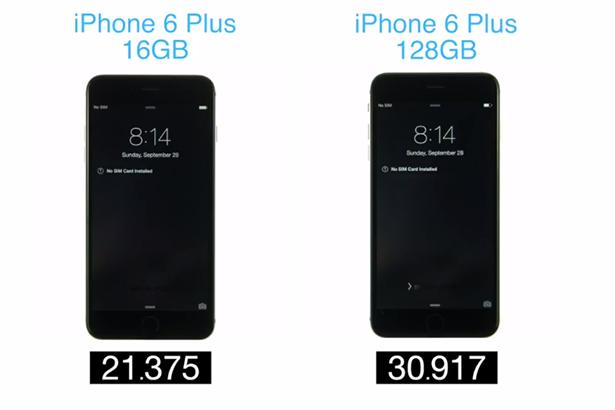 128-гигабайтный iPhone 6 Plus запускается медленнее 16-гигабайтной версии