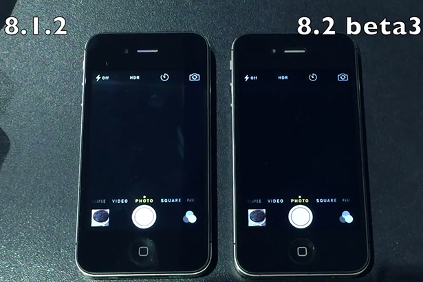 Сравнение скорости работы iPhone 4s на iOS 8.1.2 и iOS 8.2 Beta 3