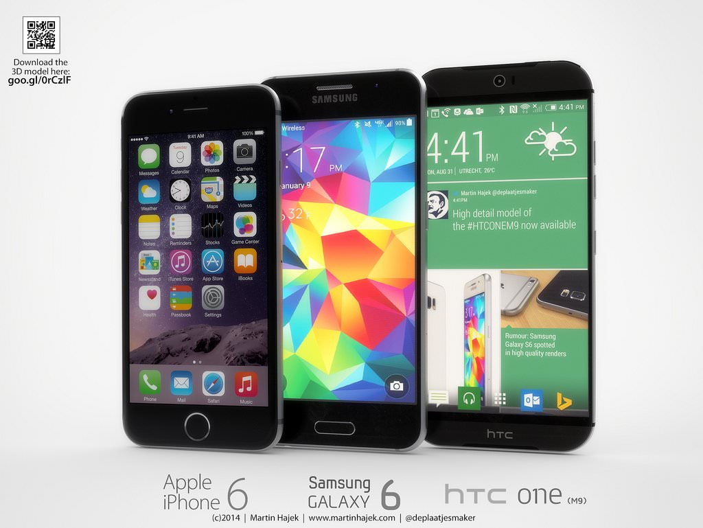 Samsung Galaxy S6 vs HTC One M9 iPhone 6 Apple vs. 4