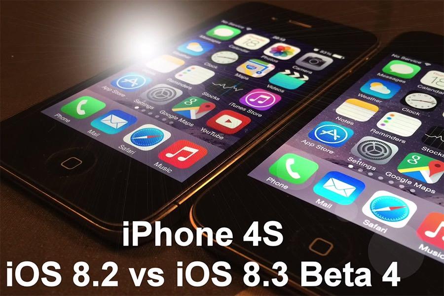 Сравнение скорости работы iPhone 4s и iPhone 5 на iOS 8.2 и iOS 8.3 Beta 4