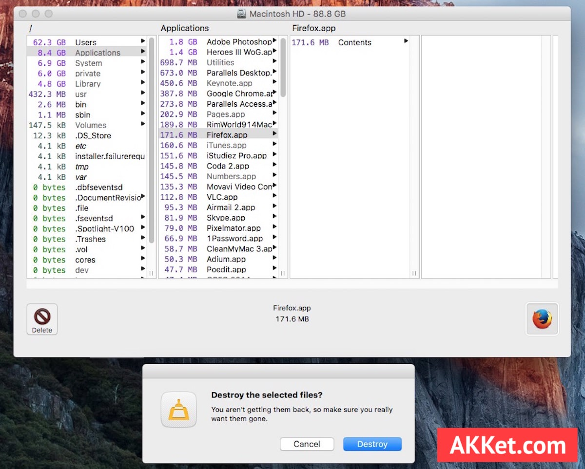 OmniDiskSweeper Mac Russia OS X El Capitan Yosemite Mavericks clear delete files 3