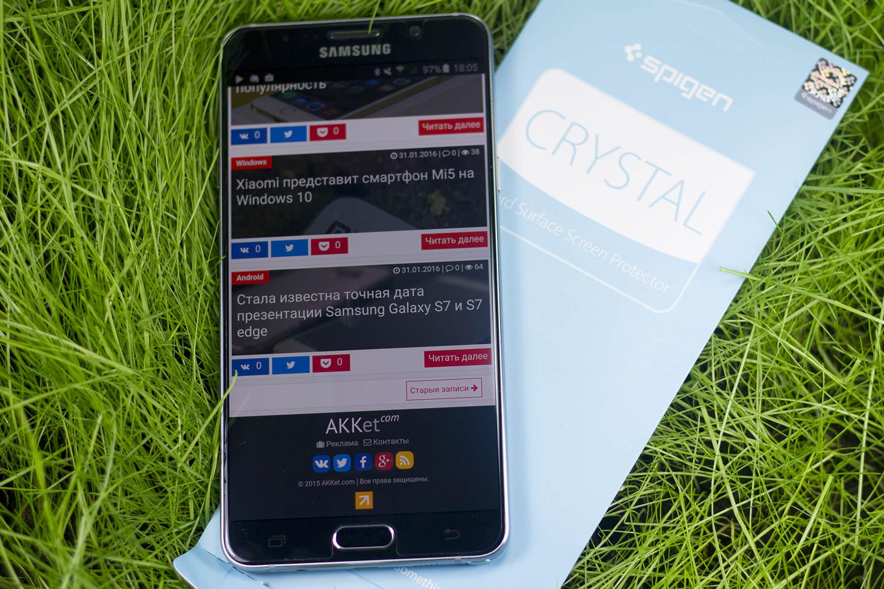 Обзор защитной пленки Spigen Crystal для Samsung Galaxy Note 5