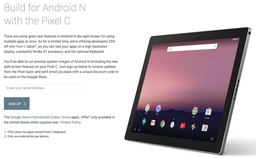 Android N Pixel C 25% Google 3