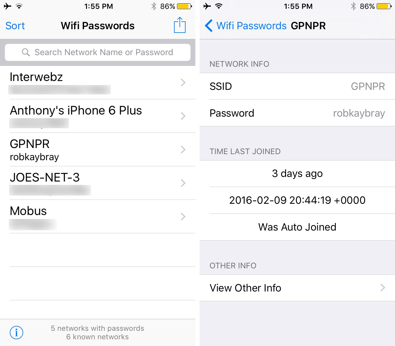 WiFi Passwords List iPhone iPad Cydia Download