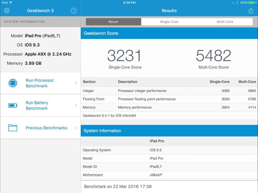 iPad Pro 9,7 2Gb Apple A9x 2