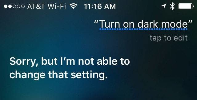 Siri Dark theme iOS 10