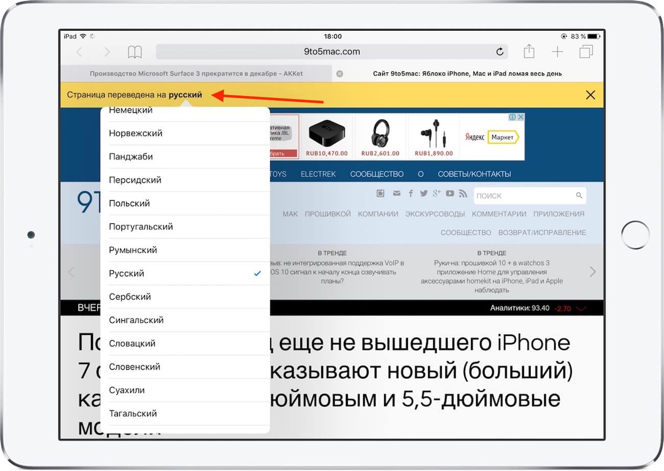 Translate App iPhone iPad Safari Chrome Yandex 4