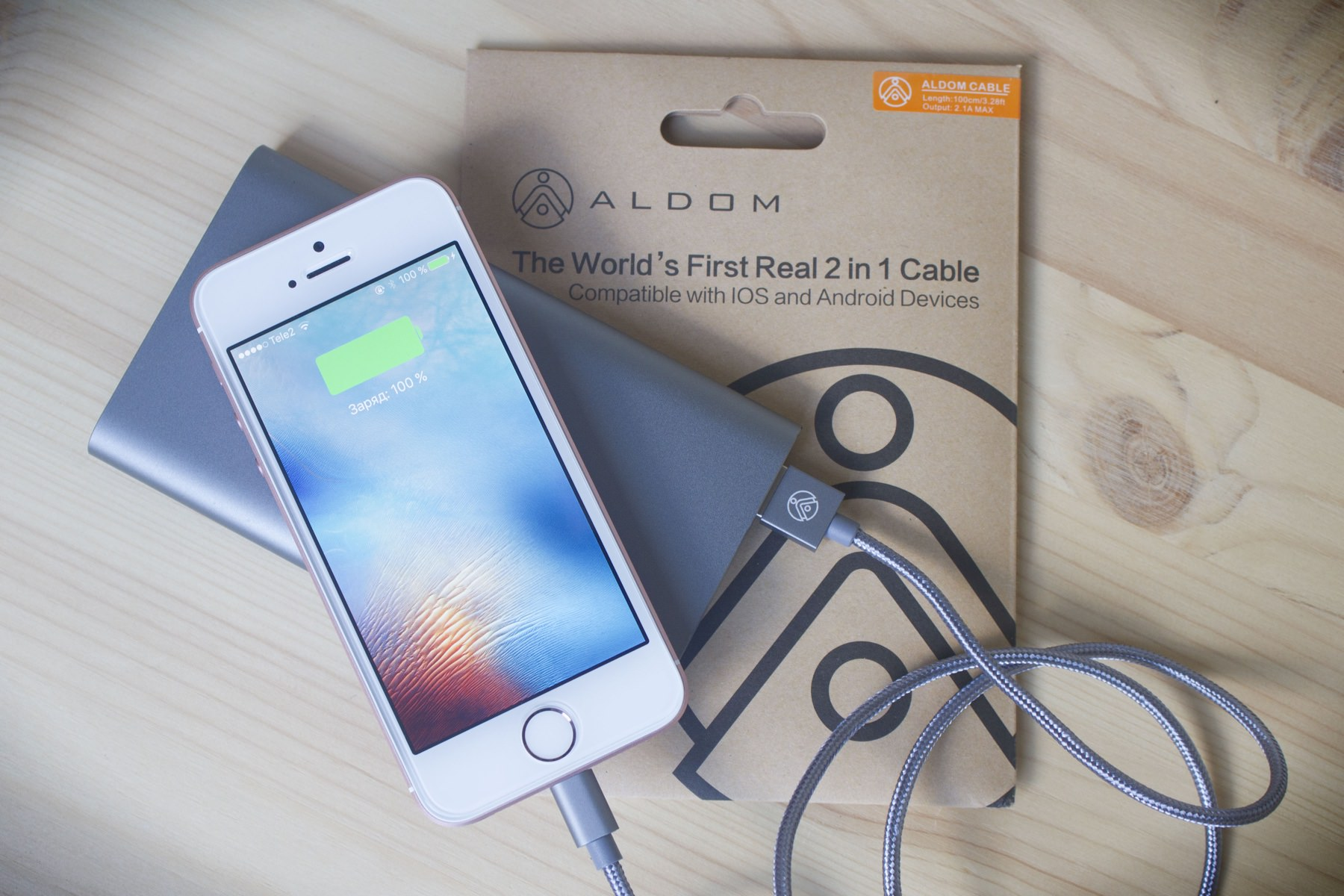 ALDOM Nylon Cable Lightning microUSB 0