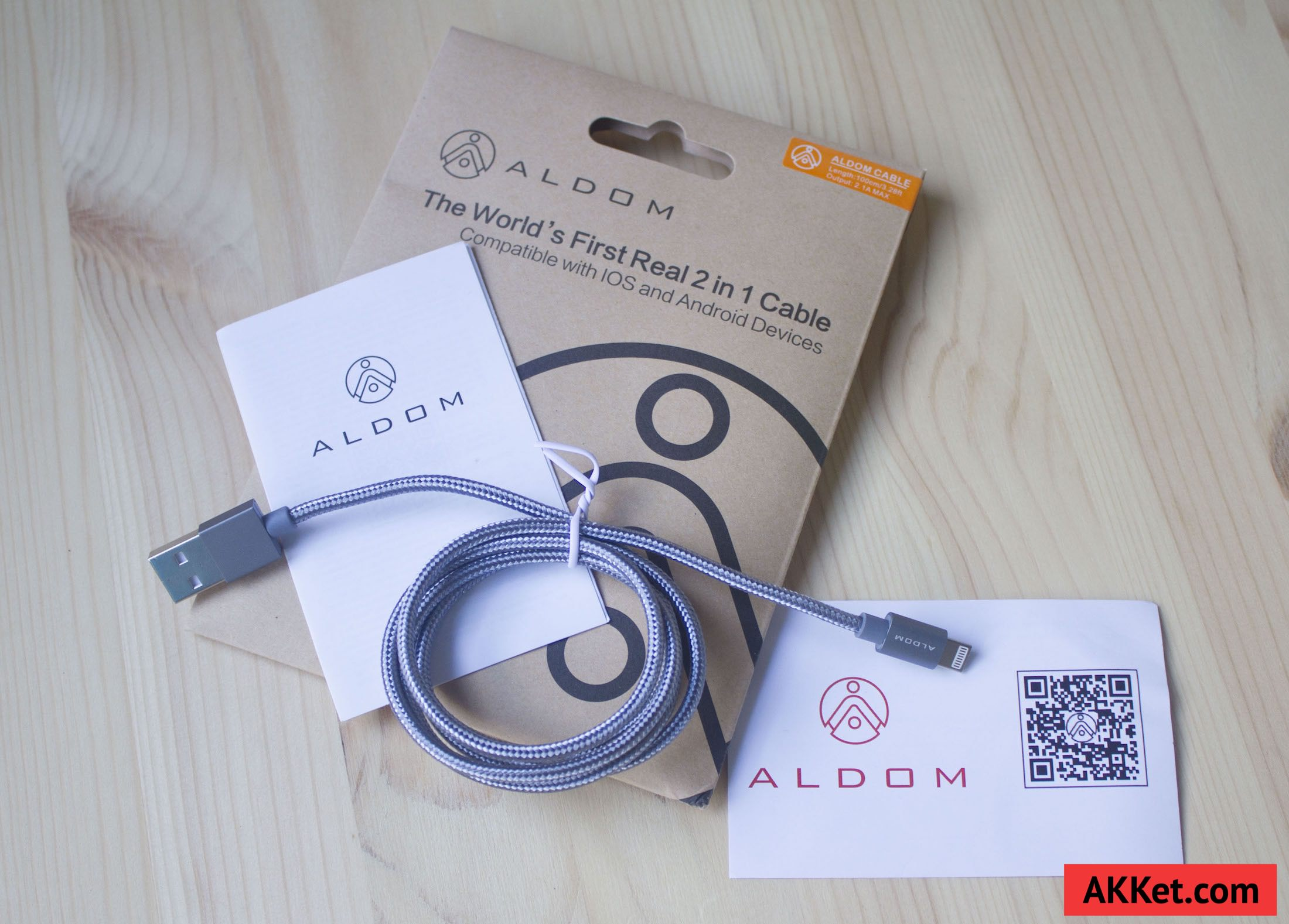 ALDOM Nylon Cable Lightning microUSB 4
