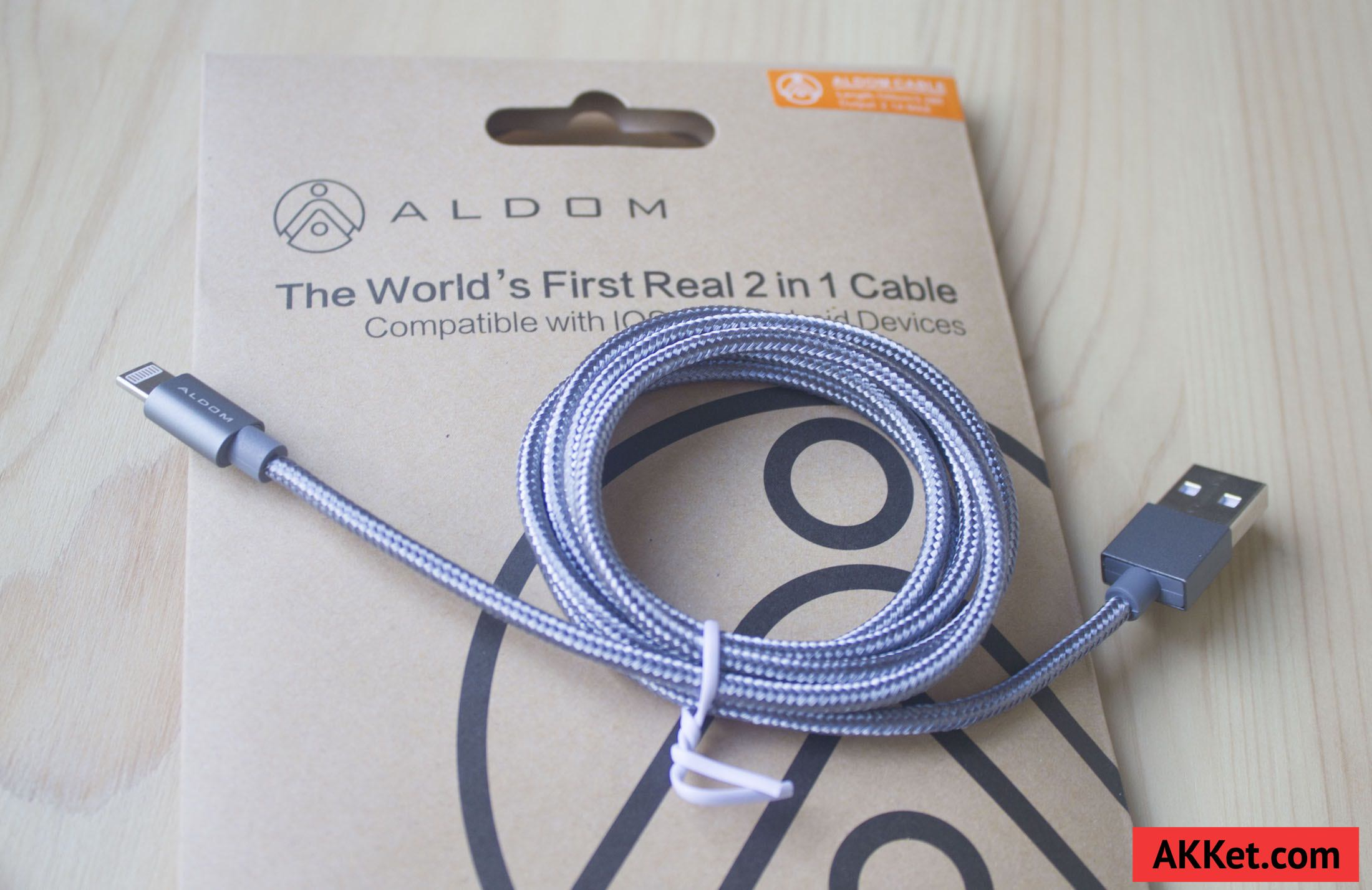 ALDOM Nylon Cable Lightning microUSB 8