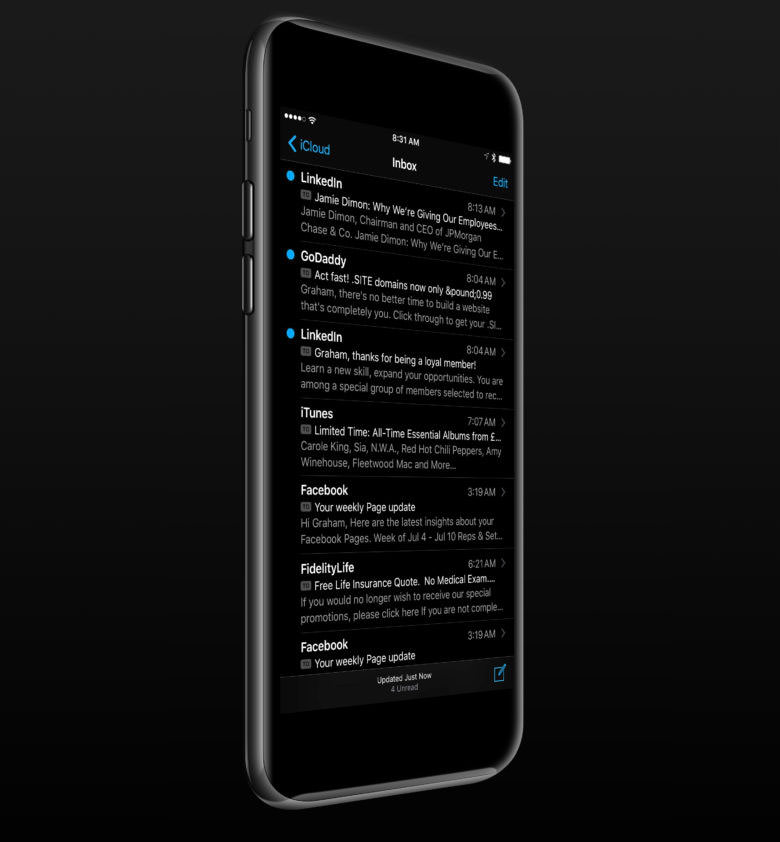 Apple iPhone 7 Black iOS 10 Dark Mode 4