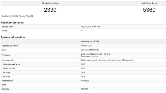 Samsung Galaxy Note 7 geekbenc 1