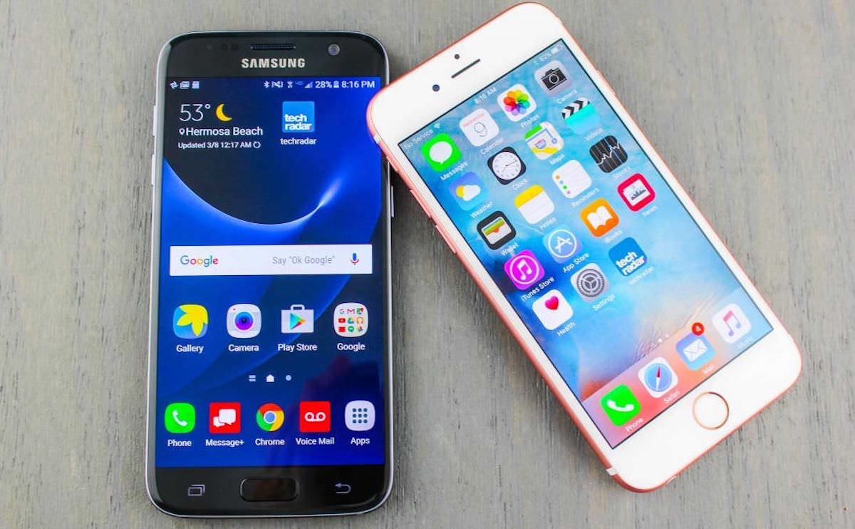 Samsung Galaxy S7 Android 7 Nougat iOS 10 Apple iPhone 6s 4