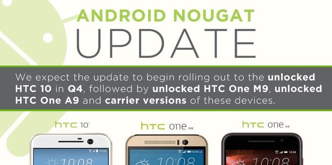 Android 7.0 Nougat HTC 10 HTC One A9 и One M9 download