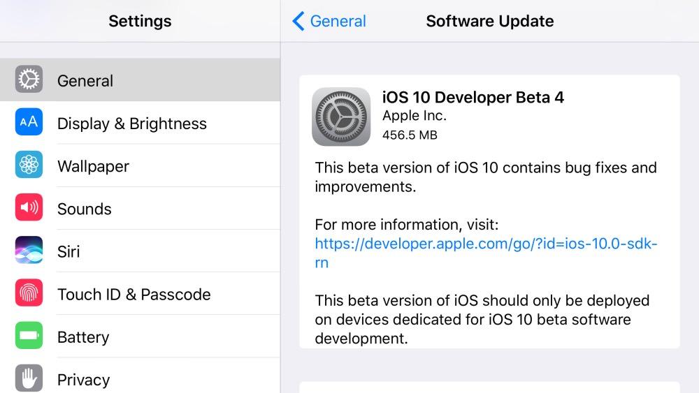 iOS 10 Developer Beta 4 download
