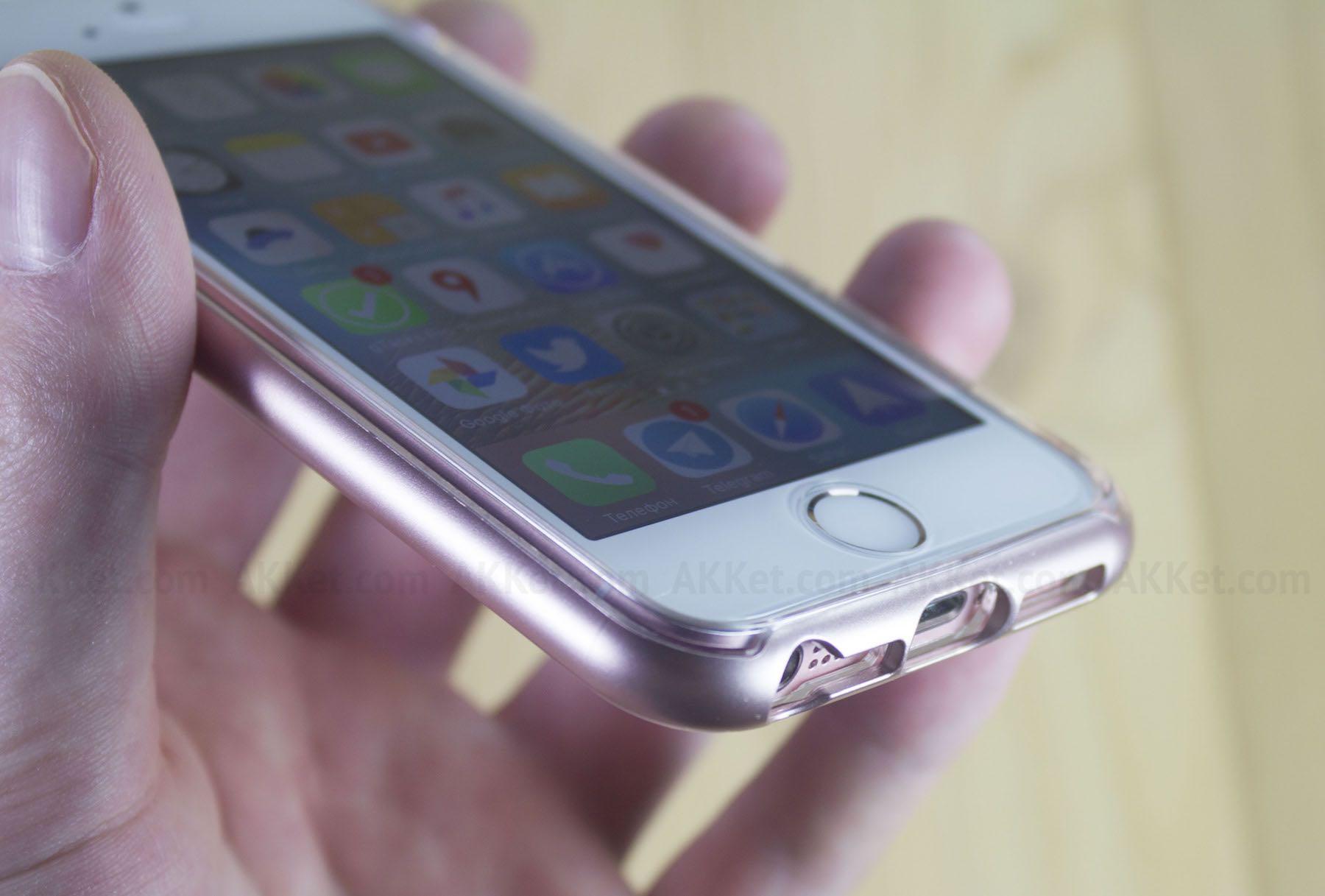 online retailer 16705 fb324 Обзор защитного чехла VRS Design Crystal Bumper для розового iPhone SE