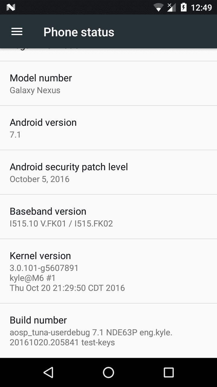 Android 7.1 Nougat Galaxy Nexus