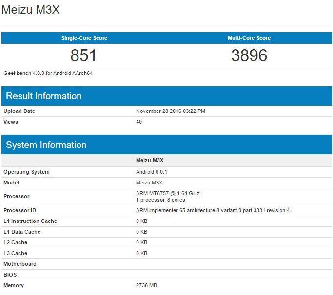 Meizu M3X X