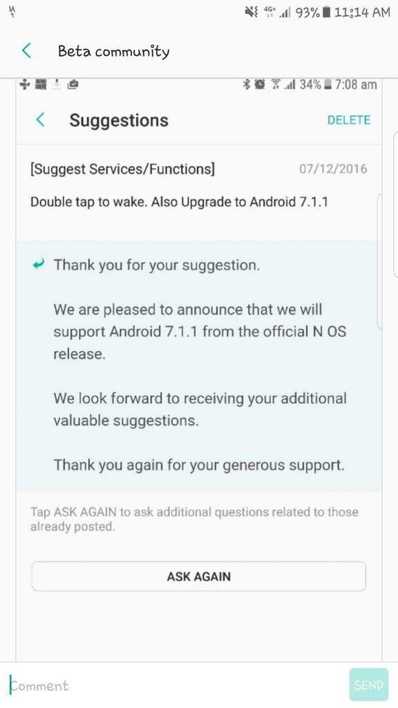 Android 7.1.1 Nougat Samsung Galaxy S7