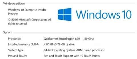 Windows 10 Qualcomm ARM