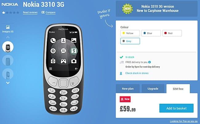 Нокиа 3310 споддержкой 3G вышла на рынок Европы