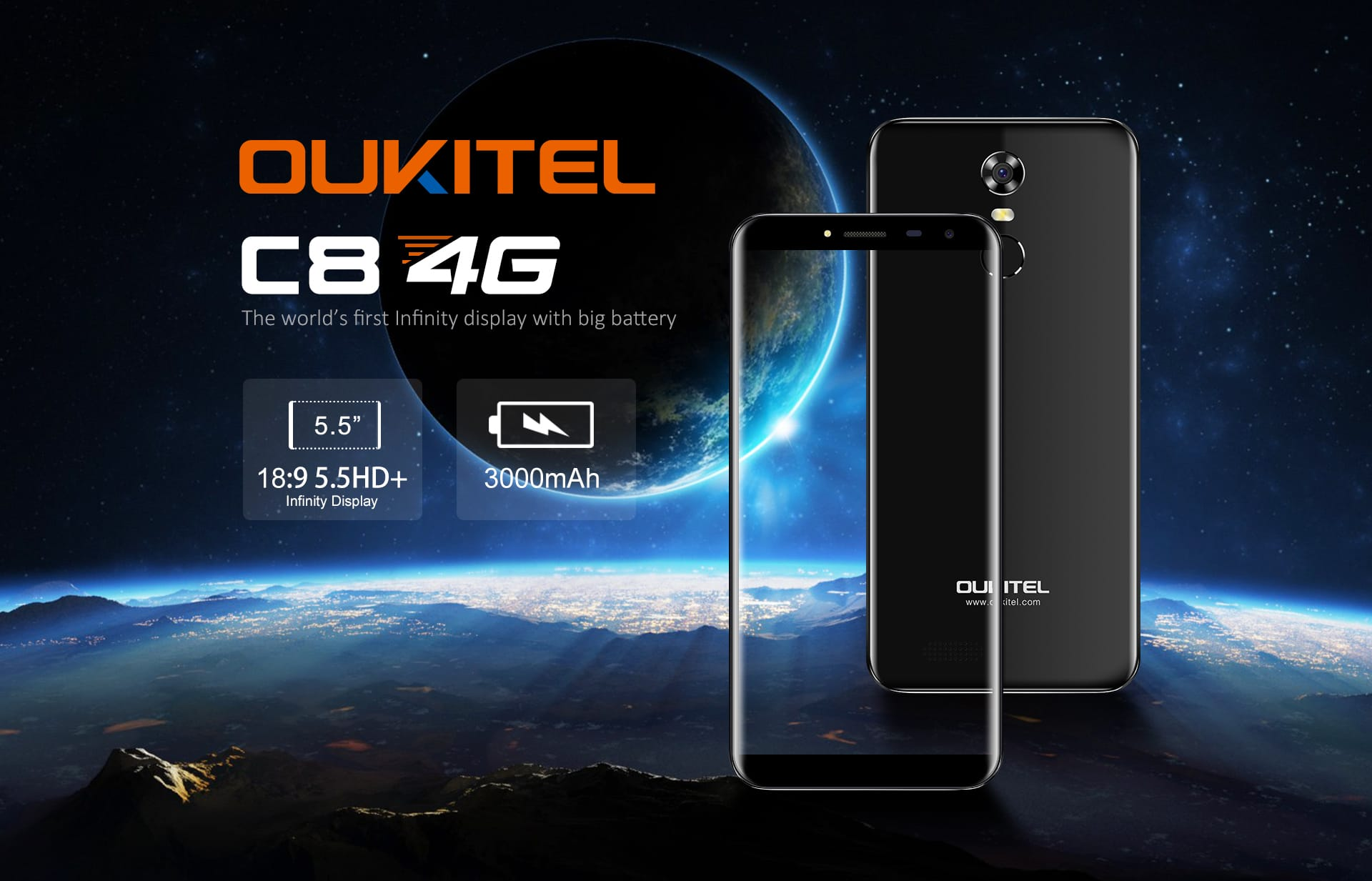 OUKITEL готовит квыходу безрамочный смартфон под названием C8 4G