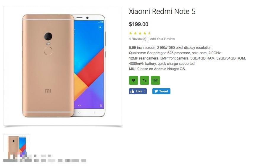 Xiaomi Redmi Note 5A Prime уже доступен в Российской Федерации