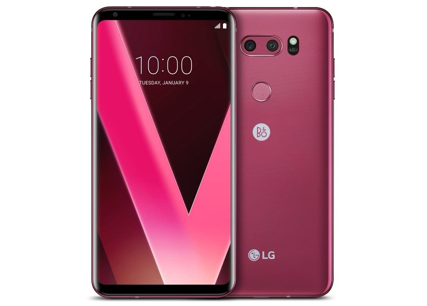 Представлен смартфонLG V30 розово-малинового цвета