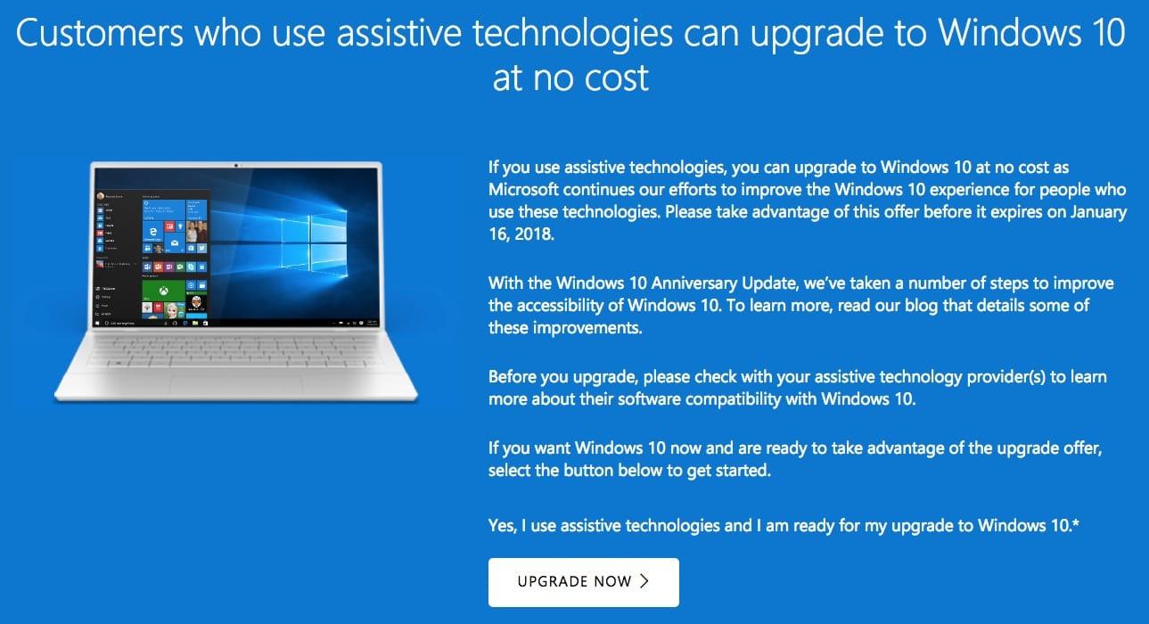 Microsoft закроет возможность бесплатного обновления доWindows 10 спустя пару часов