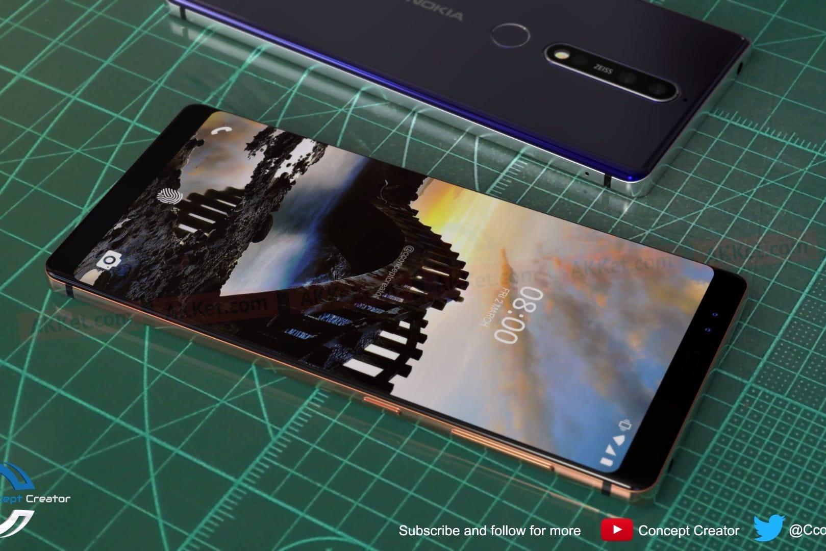 Розкішний Nokia 8 Sirocco з безрамковим екраном і подвійною камерою на зображеннях з усіх боків