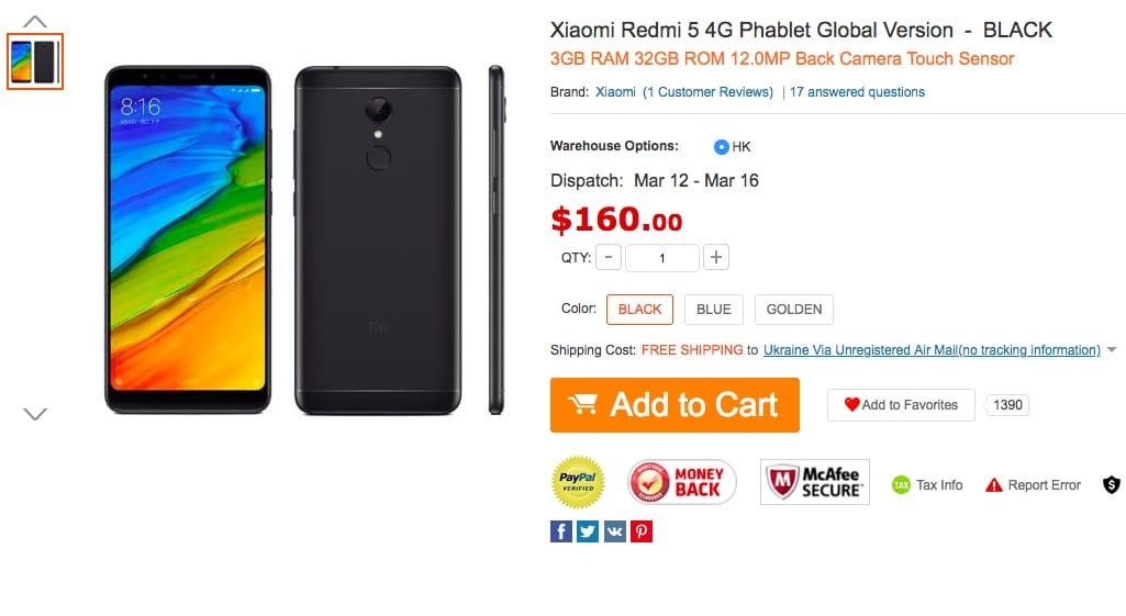 6992cb475d98 Йдеться про модифікацію Xiaomi Redmi 5, яка оснащена 3 ГБ оперативної і 32  ГБ постійної флеш-пам яті, тобто «середньої», оскільки на полицях магазинів  також ...