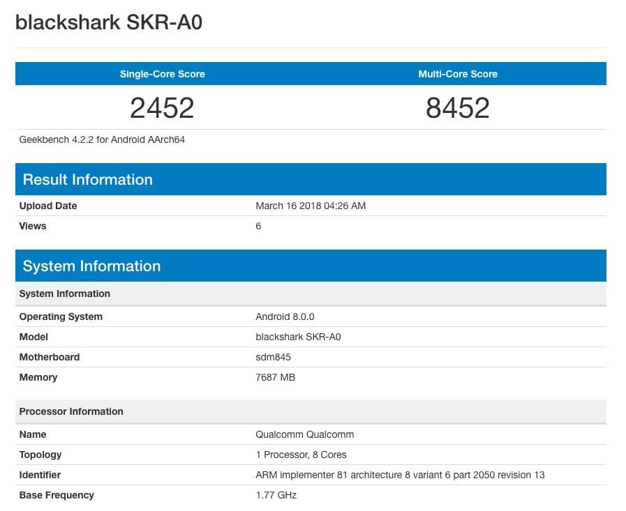Геймерский смартфон Xiaomi Blackshark засветился вGeekbench