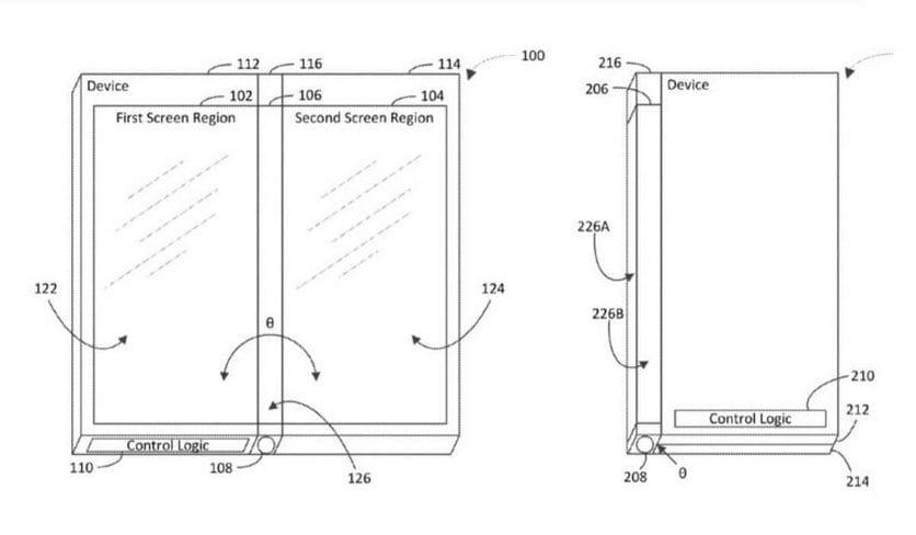 Microsoft патентует складной гаджет с своеобразной  конфигурацией дисплеев