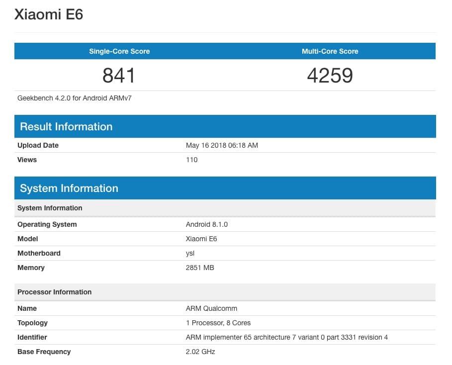 Xiaomi E6 - новий недорогий смартфон компанії на Android Oreo