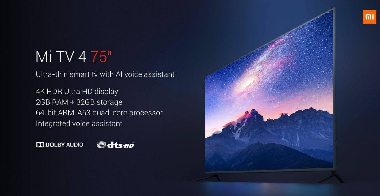 Xiaomi анонсировала самый недорогой вмире 75-дюймовый телевизор
