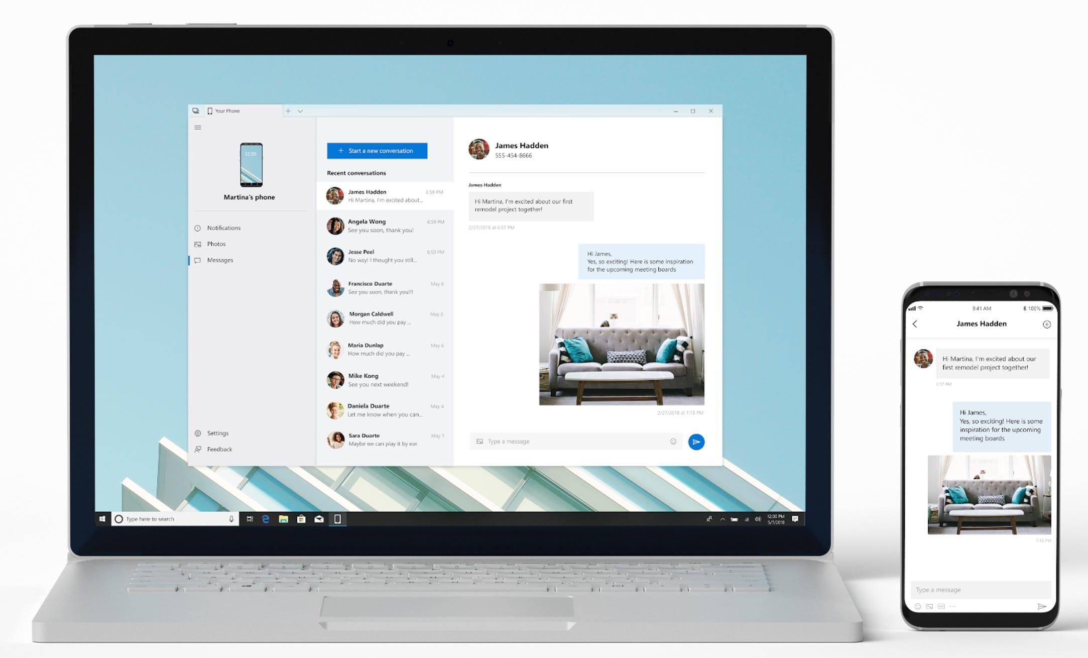 Юзеры Windows 10 могут получать и посылать SMS через андроид