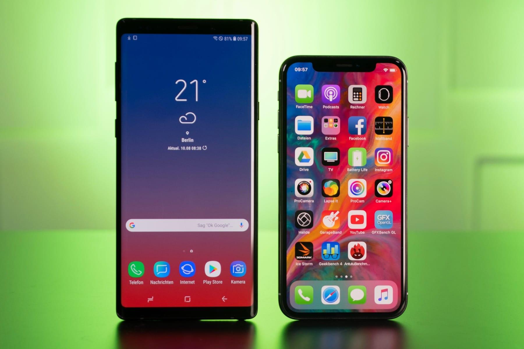 Самсунг расхваливает Galaxy Note9 в социальная сеть Twitter со телефона iPhone